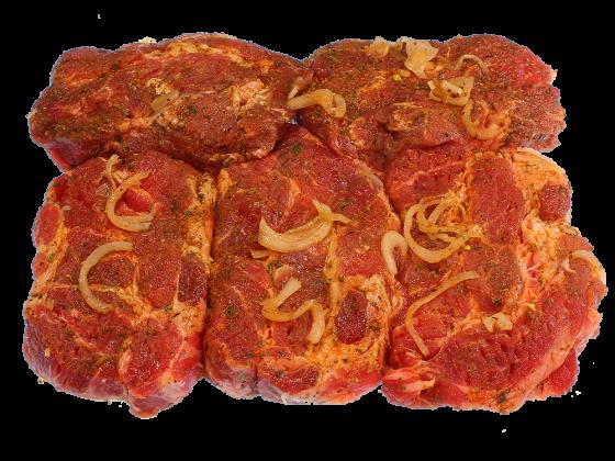 Eingelegte Steaks vom Schweinekamm