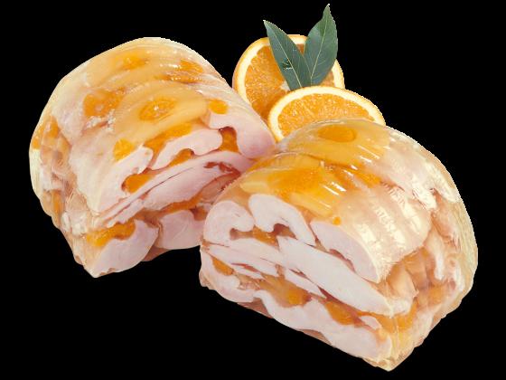 Hähnchenbrust in Ananas-Mandarinen-Aspik