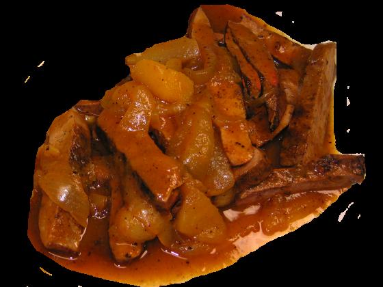 Schweineleberstreifen in Apfel-Zwiebelsauce, 1 Portion