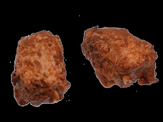 Schweinehaxe gepökelt und gebraten, vollfleischig am Speichenknochen ohne Schwarte