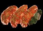 Lammkotelett, Lammrücken in Scheiben mariniert mit Knochen als Kotelett portioniert